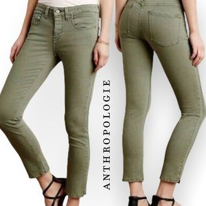 Anthropologie Pilcro and the Letterpress Olive Green Stet Fit Jeans